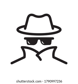Cyber fraud icon. Spy, anonymity, agent detective. Hat and glasses Vector illustration