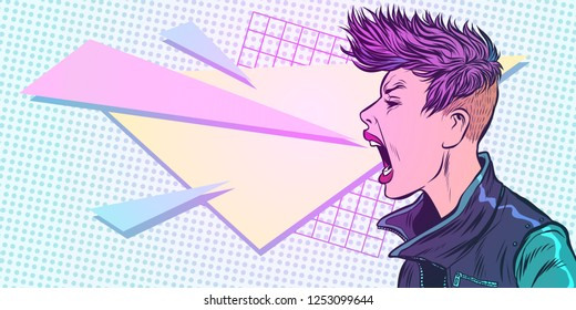 cyber girl screams. emotion 80s woman. Pop art retro vector illustration kitsch vintage. 80s girl woman