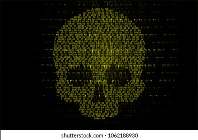 cyber hacker attack background, skull vector