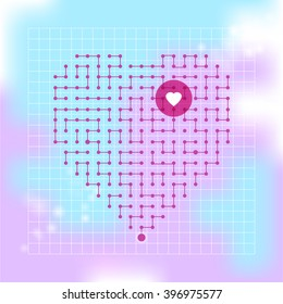 Cyber Heart composed of dots. Vector illustration for St. Valentine's Day or for romantic technology project. Dots