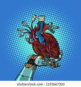 cyber heart in robot hand. Pop art retro vector illustration vintage kitsch
