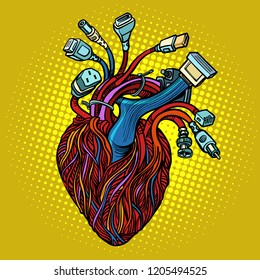 Cyber heart. Wires and cables. Pop art retro vector illustration vintage kitsch