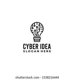 Cyber Idea Logo Design Vector Image
