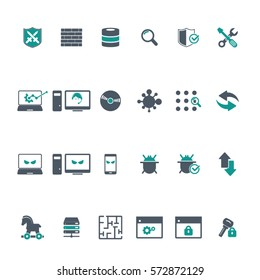 Cyber, Internet Security Icons set