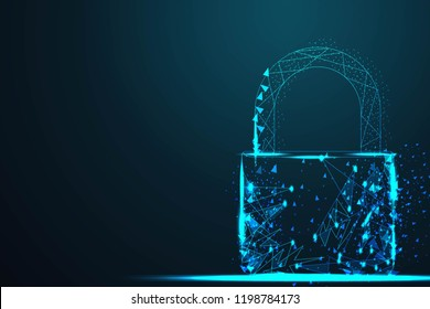 cyber Lock security padlock, Abstract wire low poly, Polygonal wire frame mesh looks like constellation on dark blue night sky with dots and stars, illustration and background