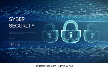 Cyber lock security vector illustration. Information protection and It security concept. Data privacy and digital safety, computer security lock. People on the internet, illustration descripting data
