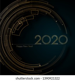 Cyber luxury gold futuristic lines 2020 New Year Blue background Modern creative design element luxury elegant cards invitations for the New Year 2020 Modern design Circle pattern gold lines Vector