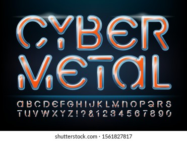 Cyber Metal font alphabet with 3d chrome and shiny metal effects. Orange and blue metallic color scheme. Futuristic tech lettering for game logos, technology, robotics, and communications.