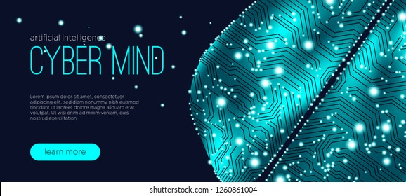 Cyber Mind, Artificial Intelligence Concept. Brain Analysis, Neural Connection Visualization. Futuristic Cyber Technology Innovation, Machine Learning. Big Data Stream between Parts of Cyber Brain.