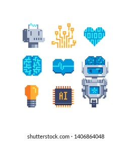 Cyber mind pixel art icons set. Artificial Intelligence Related. Android, Humanoid Robot, Thinking Machine. Design for logo, stickers, web, mobile app. Isolated vector illustration.