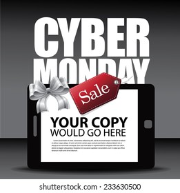 Cyber Monday Ad layout with smartphone bow and tag EPS 10 vector stock illustration