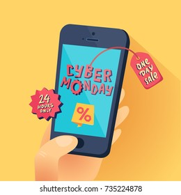 Cyber Monday banner. Hand with smartphone and Cyber Monday title. One day Sale. Vector illustration.
