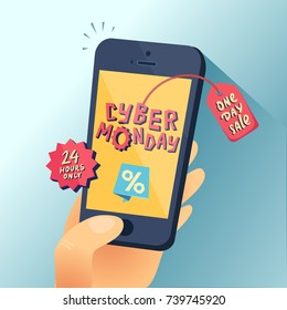Cyber Monday banner. Hand with smartphone and Cyber Monday title. One day Sale. Vector illustration