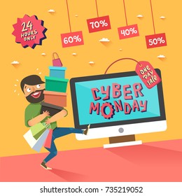 Cyber Monday banner. Man with a lots of shopping bags. Computer display with Cyber Monday title. One day Sale. Vector illustration