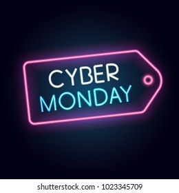 Cyber Monday banner, neon style, vector illustration