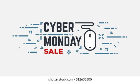 Cyber monday banner with wired mouse and abstract lines and dots. Line style illustration.