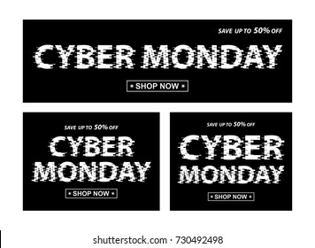 Cyber monday black banners. Vector different proportion banners with Cyber Monday text.