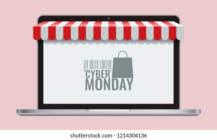 Cyber monday or black friday and Online store shopping concept laptop screen with striped awning. Vector Illustration.