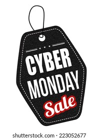 Cyber Monday black leather label or price tag on white background, vector illustration