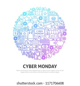 Cyber Monday Circle Concept. Vector Illustration of Outline Design.