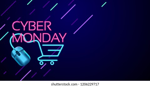Cyber Monday colorful neon style conceptual sign sales background, banner, poster, flyer template, vector illustration