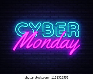 Cyber Monday concept banner in fashionable neon style, luminous signboard, nightly advertising of sales rebates of cyber Monday. Vector illustration for your projects