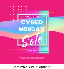 Cyber Monday concept banner in modern neon style. Cyber Monday Sale Poster with text on holographic shape in frame. Text with glitch effect. Promotion online retailers, exceptional bargains. Vector