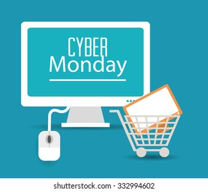 Cyber monday concept with sale icons design, vector illustration 10 eps graphic.