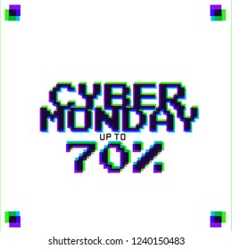 CYBER MONDAY DESIGN. DISCOUNT , PROMOTION, MINIMAL DIGITAL LAYOUT . DIGITAL STYLE LETTERS ON WHITE.