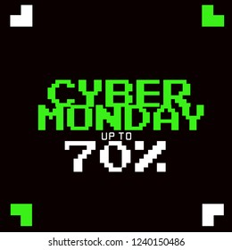 CYBER MONDAY DESIGN. DISCOUNT , PROMOTION, MINIMAL DIGITAL LAYOUT . DIGITAL STYLE FONT. GREEN AND WHITE ON BLACK.