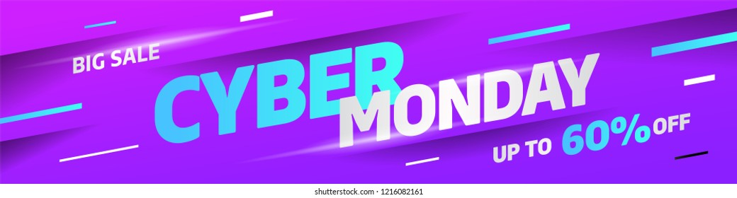 Cyber Monday discount sale concept. Inscription design template. Cyber Monday banner. Vector illustration eps 10.