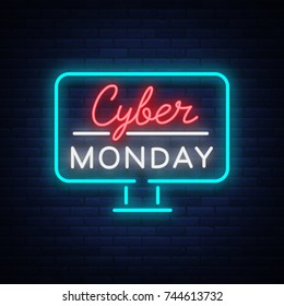 Cyber Monday, discount sale concept illustration in neon style, online shopping and marketing concept, vector illustration. Neon luminous signboard, bright banner, luminous advertisement