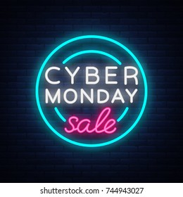 Cyber Monday, discount sale concept illustration in neon style, online shopping and marketing concept, vector illustration. Neon luminous signboard, bright banner, luminous advertisement.