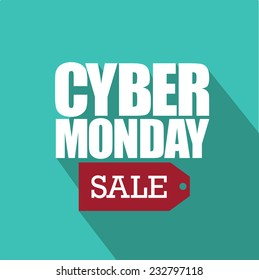Cyber Monday flat design with sale tag EPS 10 vector illustration
