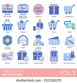 Cyber monday icons including biggest online shopping day, presents, cart, basket, purchase, return, refund, cashback guarantee, coupon, discount, gift card, reward points, exclusive freebie, bundle.