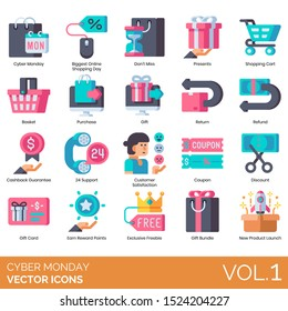 Cyber monday icons including biggest online shopping day, dont miss, cart, basket, purchase, cashback guarantee, 24 support, customer satisfaction, coupon, discount, gift card, reward points, freebie.