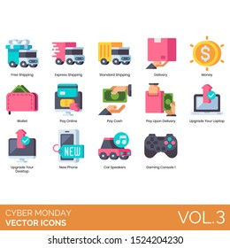 Cyber monday icons including free shipping, express, standard, money, wallet, online, cash, pay upon delivery, upgrade your laptop, desktop, new phone, car speakers, gaming console.