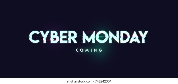 Cyber monday inscription in distorted glitch style on black background. Design element for event advertising, branding, shares, promotion. Vector illustration.