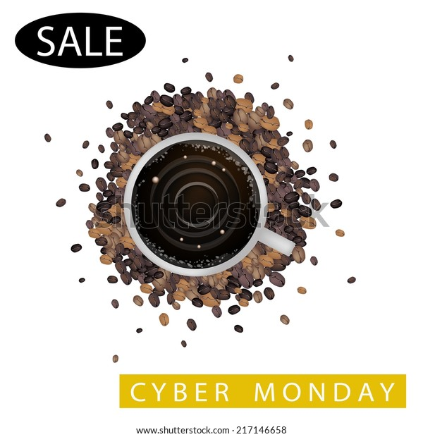 Cyber Monday Latte Art Milk Cream Stock Vector Royalty Free 217146658