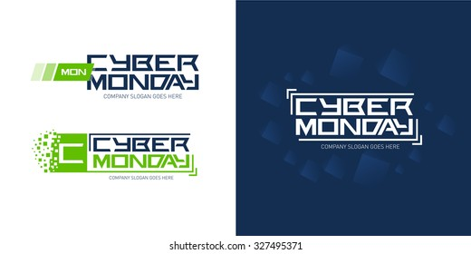 Cyber monday logo design templates with technology dark blue abstract background, vector illustration.
