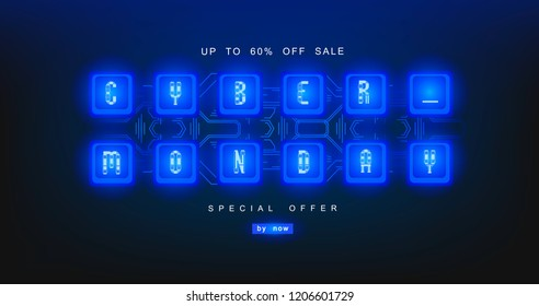 Cyber monday, mechanical panel letters. Typography, font. Digital author font, cyber font. Big sale, creative template.