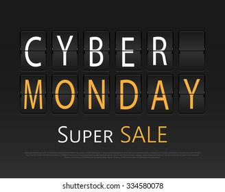 Cyber monday, mechanical panel letters. Typography, font, type vector vintage retro.