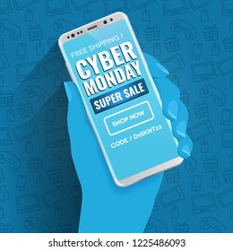 Cyber Monday mobile and online shopping deals and discount concept. Blue duotone hand holding a luxury white smartphone showing a typographic design landing page showing a call to action text.