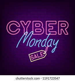 Cyber Monday neon banner. Bright neon advertising night signboard for sale of cyber monday. Vector illustration.