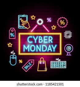 Cyber Monday Neon Concept. Vector Illustration of Shopping Sale Promotion.