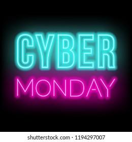 Cyber Monday neon lettering on dark background.
