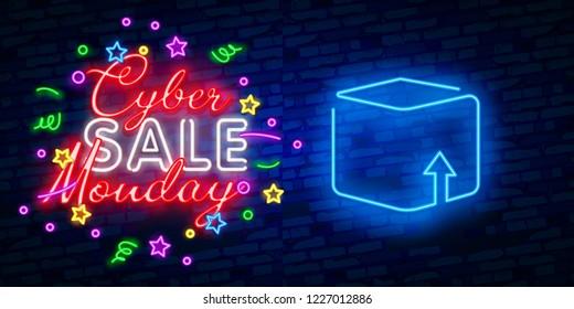 Cyber Monday neon sign, bright signboard, light banner. Discount, night sale logo, emblem. Vector illustration