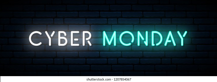 Cyber Monday neon sign. Long horizontal light banner . Vector bright signboard.
