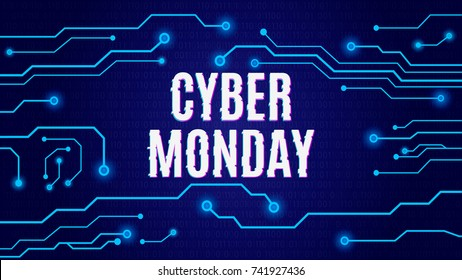 Cyber monday on tech blue circuit board background. Vector illustration.
