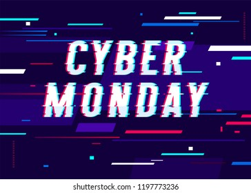 Cyber monday promo banner with lines on glitch screen. Cyberpunk, web, darkwave.